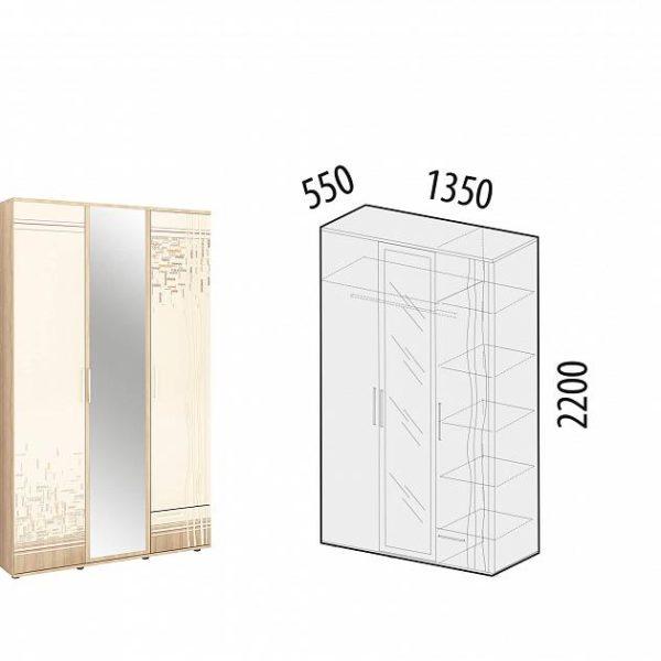 Шкаф трехдверный с зеркалом Бриз 54.02