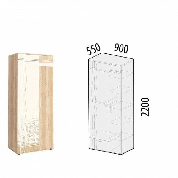 Шкаф для одежды с полками и штангой Бриз 54.01